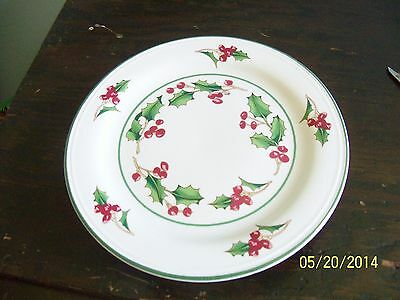 Sango White Christmas Holly Berry Design Footed Dessert Plate