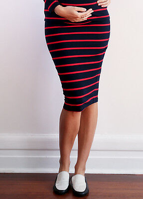 NEW - Trimester™ - Haidee Skirt in Navy/Red Stripes - Maternity Skirt
