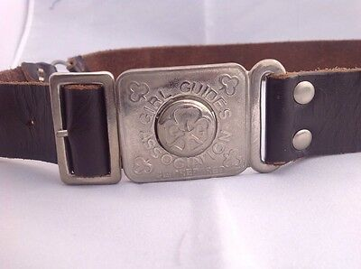 "Vintage leather Girl Guide BELT   Scouting Guiding    25"" To 32"" Brown Leather"
