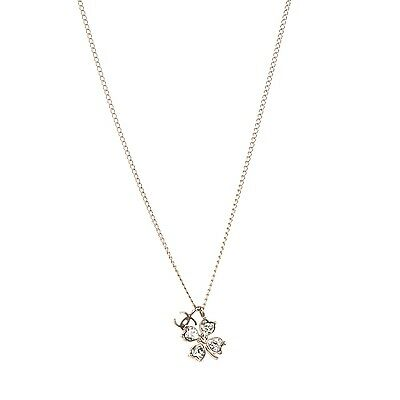 CHANEL Crystal CC Four Leaf Clover Pendant Necklace Gold