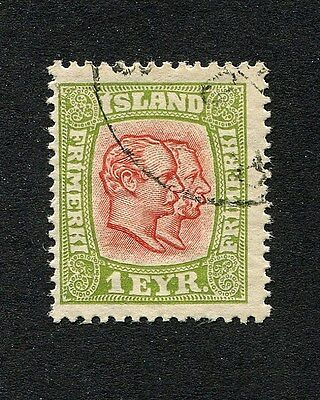 """ICELAND 1915 1Eyr """"Two Kings""""- Used S#99"""
