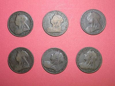 GREAT BRITAIN - Victoria Penny - Lot of 6, Each year 1896 - 1901