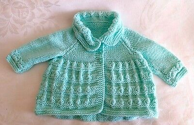 Hand Knitted Baby Boy/ Girl Pastel Green Cardigan Sweater Size 3-6M NEW