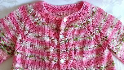 Hand Knitted Baby Girls Pink Cardigan Cable Knit Pattern SWEATER 12M NEW