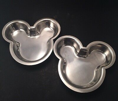 Disney Mickey Mouse Pet Food Water Bowl Dish Cat Dog Stainless Set of 2