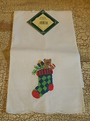 Nwt Christmas Holiday Guest Towel Stocking  Cotton Gift Present C&f White