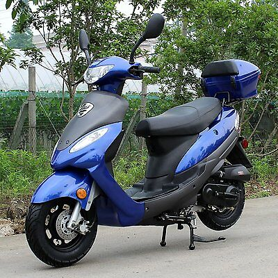 CRT 49CC 99% assembled Gas Moped Scooter promotion price  DF50STC-B-blue