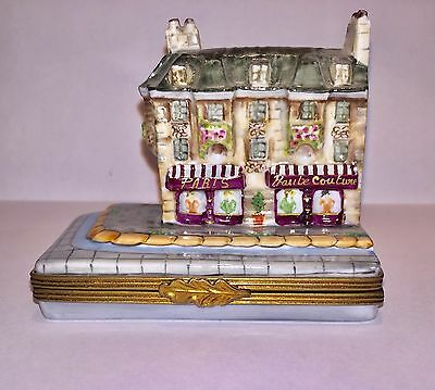 Limoges France PARIS HAUTE COUTURE Store Rare Hinged Trinket Box