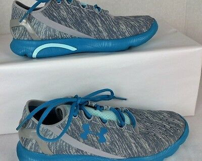 New Youth Under Armour Speedform Gray Aqua Textile Sneakers Shoes Size 4.5