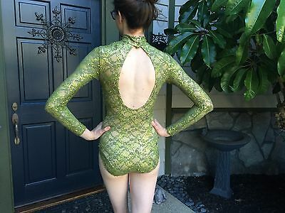Womens S Dance Leotard Performance Costume by Kelle, Green sequin Lace