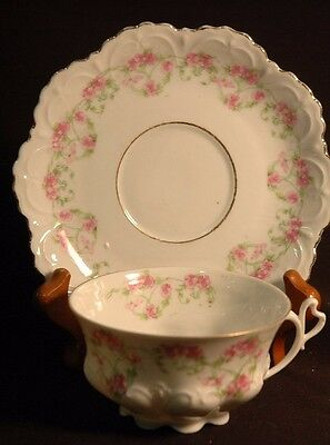 M.Z.Altrohlau Pink Roses Cup and Saucer - 1945