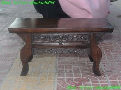 Chinese Huanghuali wood carved 2 dragon statue cabinet Jewelry boxes table desk