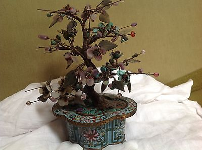 CHINESE ANTIQUE EARLY 20TH CENTURY TREE IN CLOISONNE PLANTER POT semi precious