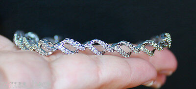 $1000New Zales 10K 1CT Diamond Winding Ribbon Tennis Bracelet 7.25'' White Gold