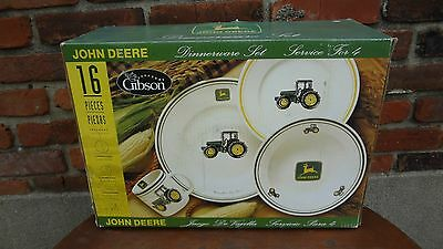 John Deere Dinnerware 16 Piece, Four Place Settings Mint, Item # 34037.16 Gibson