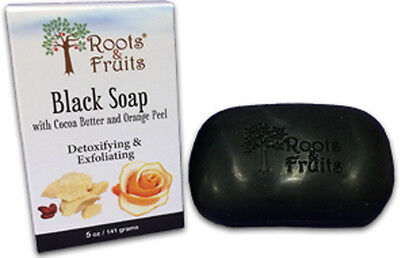 Black Bar Soap with Cocoa Butter & Orange Peel, Roots & Fruits, 1 Bar