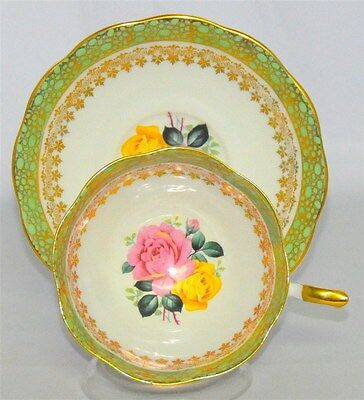 Royal Standard Tea Cup And Saucer Stunning Floral Roses & Green With  Gold (Teac