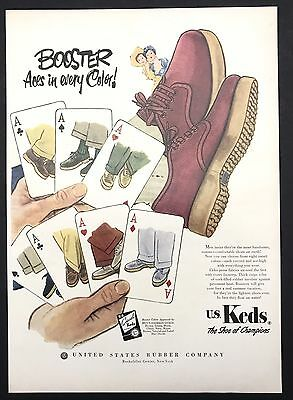 1951 Vintage Print Ad 1950s Illustration KEDS Foot Fashion Shoe Style