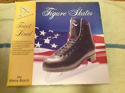 New Mens Figure Ice Skates Black American 552  Size 11 Tricot Lined