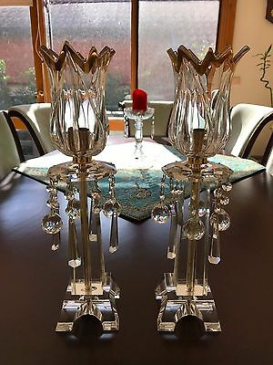 Stunning matching pair Crystal lustre drop candle holders