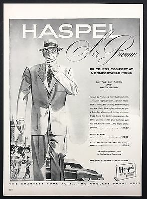 1951 Vintage Print Ad 1950s Illustration HASPEL Men's Fashion Suit Style
