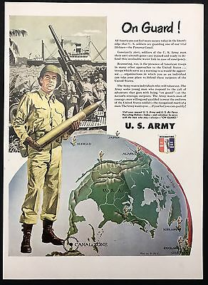 1951 Vintage Print Ad 1950s Illustration US ARMY RECRUITMENT Soldier Map Bullet