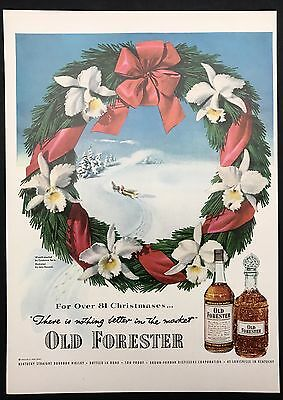 1951 Vintage Print Ad 1950s Illustration OLD FORESTER Bourbon Christmas Wreath