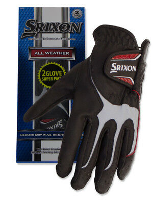 Srixon All Weather Pack Of 2 Golf Gloves Black