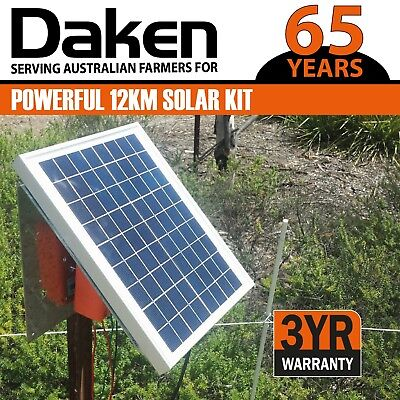 12km Solar Power Electric Fence Energiser Energizer 1.2J DAKEN Farm Horse Animal