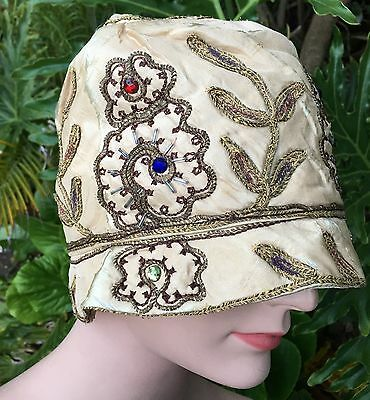 Antique Vintage Silk Cloche Hat Jeweled Embroidered Crewel Gold Lame 20s Flapper