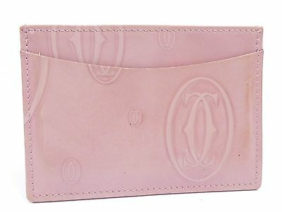 Auth Cartier Leather Happy Birthday Pass Case Card Holder Pink U663