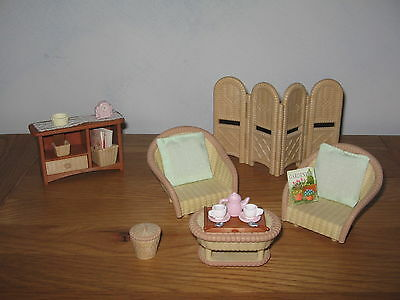 Sylvanian Familes Conservatory living room furniture, wicker effect furniture