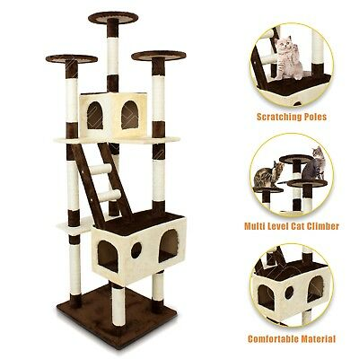 Cat Tree Scratching Post Pole Bed Scratcher Gym House Furniture Toy 175cm Brown