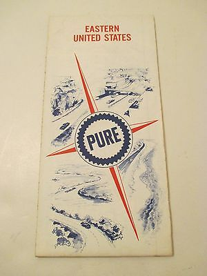 Vintage 1967 PURE OIL Eastern United States Oil Gas Service Station MAP