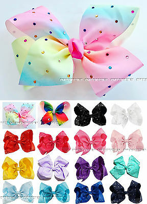 8 inch Ladies/girls Large Diamante Rhinestone Grosgrain Ribbon Hair Bow Clip