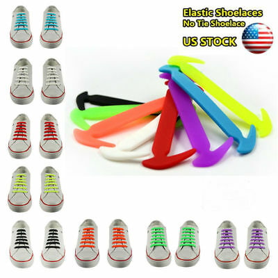 100% Silicone Elastic Shoe Laces Trainers Shoes Adult Kids Shoelaces Easy No Tie