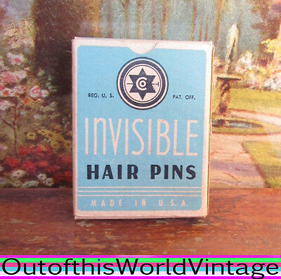 Antique Vtg WWII STAR INVISIBLE HAIR PINS Bobby Pins Accessories 1940s Mint Box