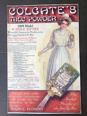 Antique 1909 Ad (E13)~Colgate Talc Powder 6 Hole Sifter