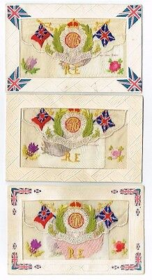 3 Ww1 Silk Patriotic Postcards Royal Engineers Badges With Card Inserts 1917