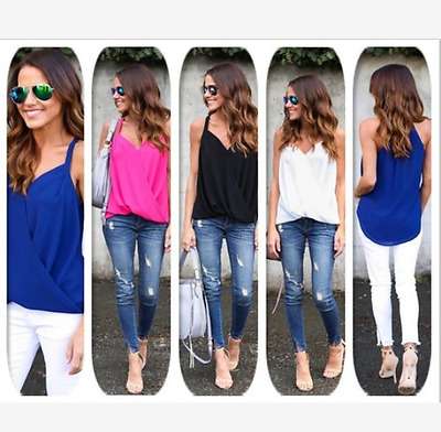 New Women Summer Chiffon Sleeveless Vest Shirt Tops Blouse Ladies Loose Top Cami