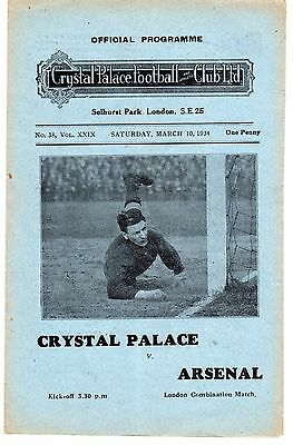 Crystal Palace v Arsenal Reserves Programme 10.3.1934