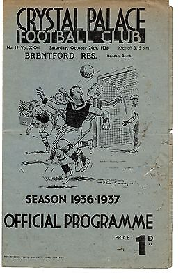 Crystal Palace v Brentford Reserves Programme 24.10.1936