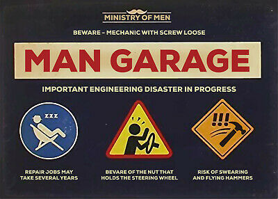 Garage Metal Sign Wall Plaque Ministry of Men Father's Day Dad Gift 15x20cm