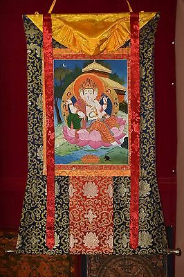 Thangka painting Ganesh colorful mandala Silk brocade tibetan thangka tanka 24C