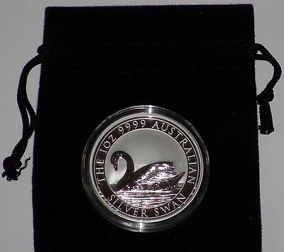 2017 Perth Mint SILVER SWAN 1oz BU .9999 Silver Coin w/ pouch *ONLY 25K*