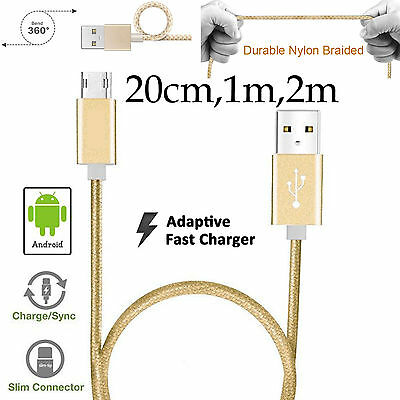 20cm 1m 2m Strong Nylon Braided Lightning data charger micro usb cable Android