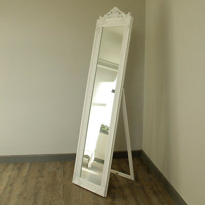 Ornate White Freestanding tall cheval Mirror bedroom french vintage chic vanity