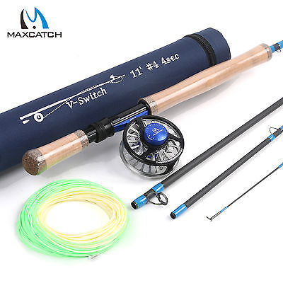 4WT Fly Fishing Switch Rod 11ft 4Sec with Fly Reel 3/4WT & Fly Fishing Line Kit