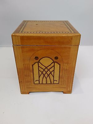 Vintage 1920s Heavily Decorated Inlaid Wooden Musical Cigarette Box Art Deco