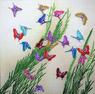 """Chinese Suzhou embroidery painting butterfly birds flowers 12x12"""" hand-made art"""